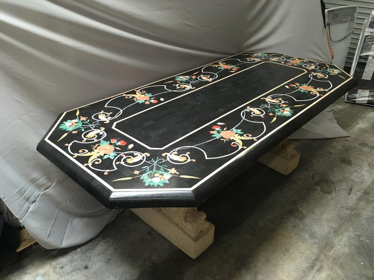 Italian Variegated Marble Inlaid Dining Table In Good Condition For Sale In Cypress, CA