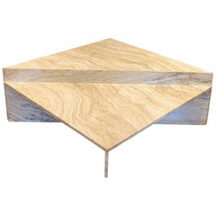 Italian Variegated Travertine Two-Tier Coffee Table, circa 1970s