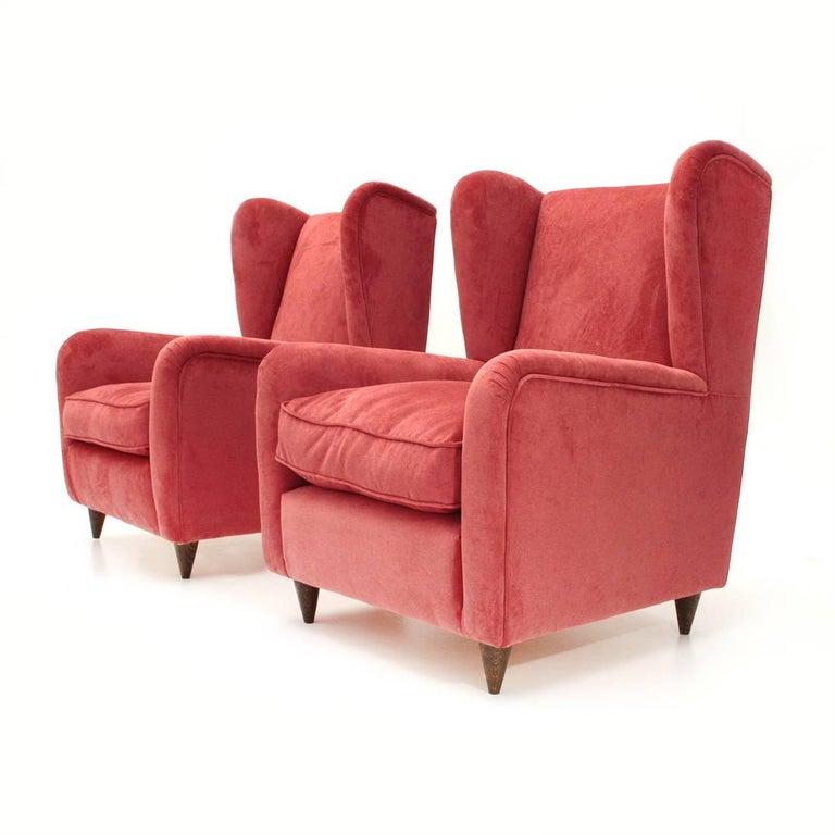 Italian Velvet Armchair, 1950s, Set of Two For Sale at 1stdibs