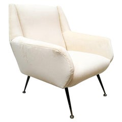 Italian Velvet Armchair in the Style of Minotti, from 1950s