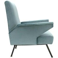 Italian Velvet Azure Armchair by Bonino, 1960s