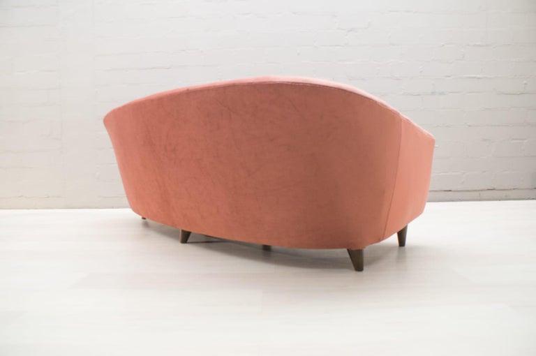 Italian Velvet Living Room Set, 3-Seat Sofa and 2 Armchairs 1960s For Sale 6