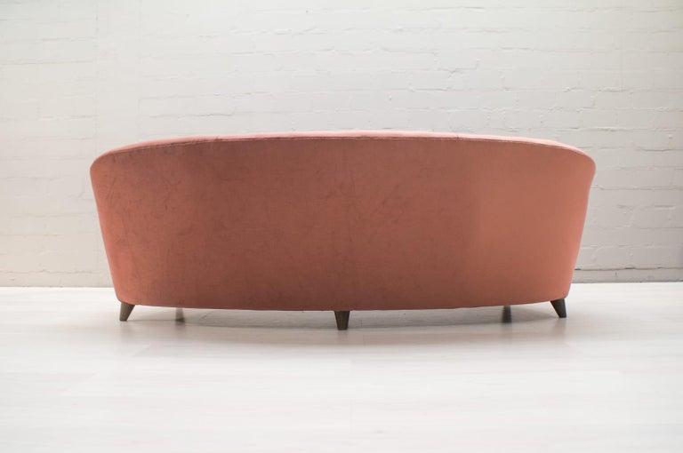 Italian Velvet Living Room Set, 3-Seat Sofa and 2 Armchairs 1960s For Sale 7