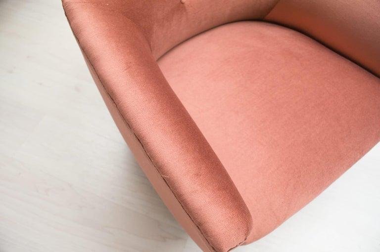 Italian Velvet Living Room Set, 3-Seat Sofa and 2 Armchairs 1960s For Sale 14