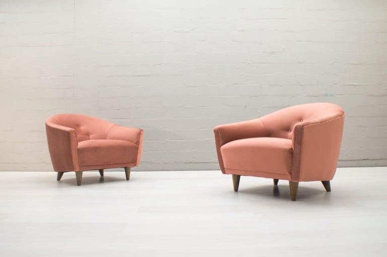 Italian Velvet Living Room Set, 3-Seat Sofa and 2 Armchairs 1960s In Good Condition For Sale In Nürnberg, Bayern