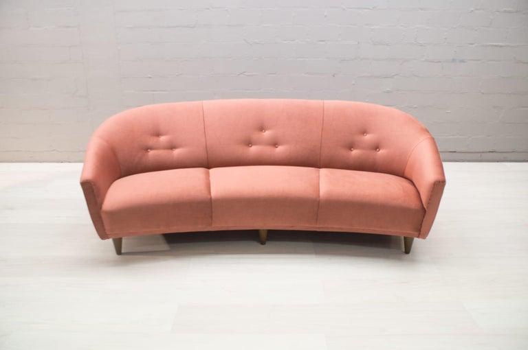 Italian Velvet Living Room Set, 3-Seat Sofa and 2 Armchairs 1960s For Sale 1