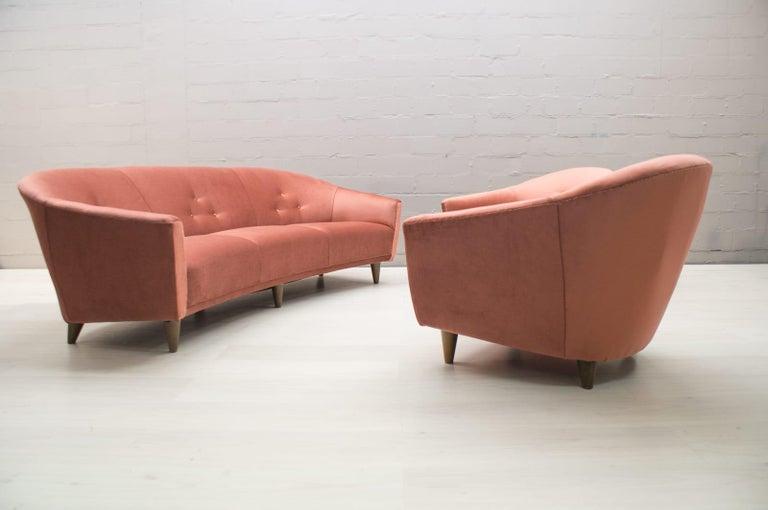 Italian Velvet Living Room Set, 3-Seat Sofa and 2 Armchairs 1960s For Sale 3