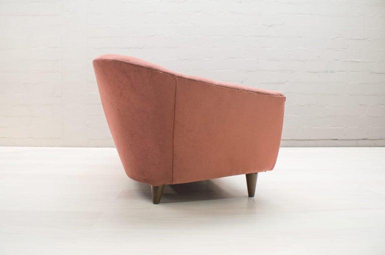 Italian Velvet Living Room Set, 3-Seat Sofa and 2 Armchairs 1960s For Sale 4