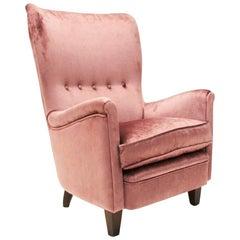 Italian Velvet Pink Armchair, 1950s
