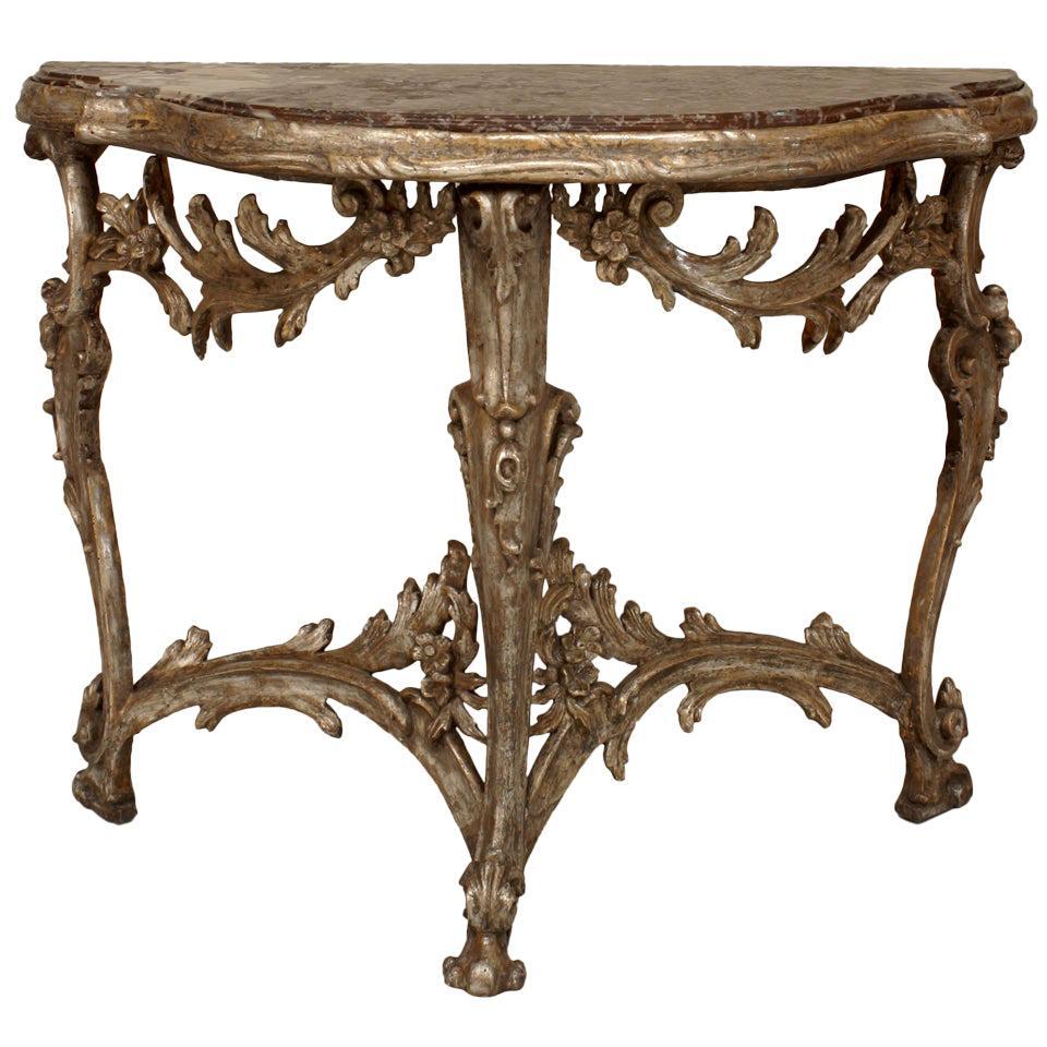 Italian Venetian Gilt Marble Console Table