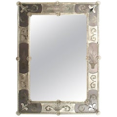 Italian Venetian 1930s Murano Rectangular Dark Glass Mirror