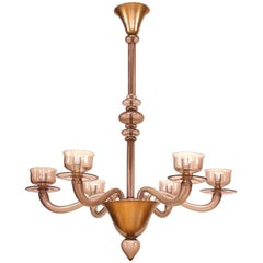 Italian Venetian 1940s Murano Light Amethyst Glass Chandelier