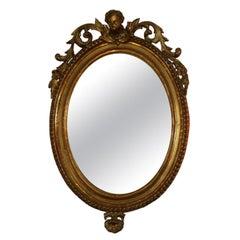 Italian, Venetian 19th Century Gold Leaf Oval Cherub Mirror