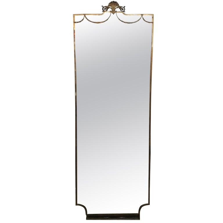 Italian Venetian Brass Full Length Mirror For Sale