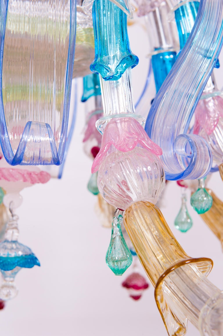 Italian Venetian Ca Rezzonico Chandelier, Blown Murano Glass, Multicolored, 1960 For Sale 4