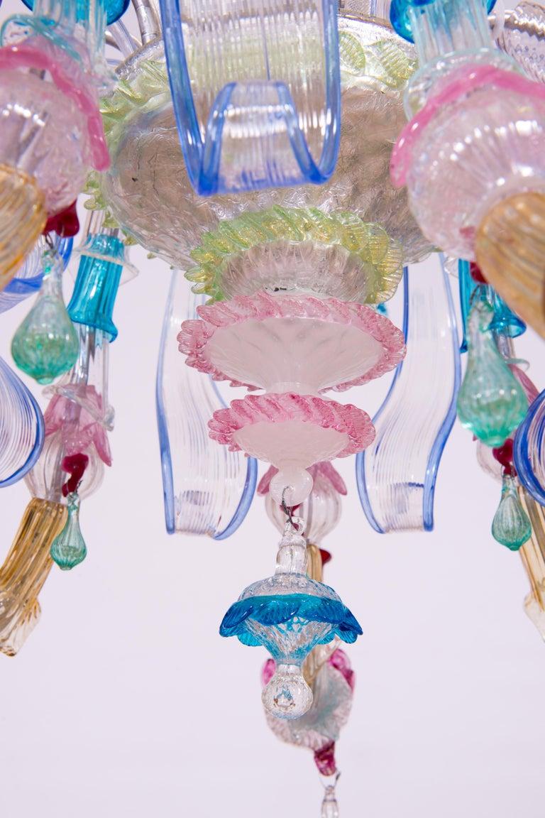 Italian Venetian Ca Rezzonico Chandelier, Blown Murano Glass, Multicolored, 1960 For Sale 5
