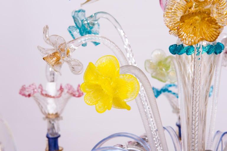 Italian Venetian Ca Rezzonico Chandelier, Blown Murano Glass, Multicolored, 1960 For Sale 6