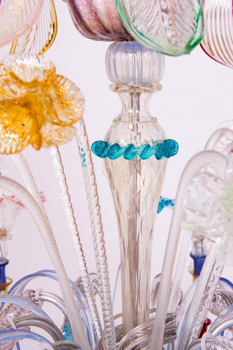 Italian Venetian Ca Rezzonico Chandelier, Blown Murano Glass, Multicolored, 1960 For Sale 7