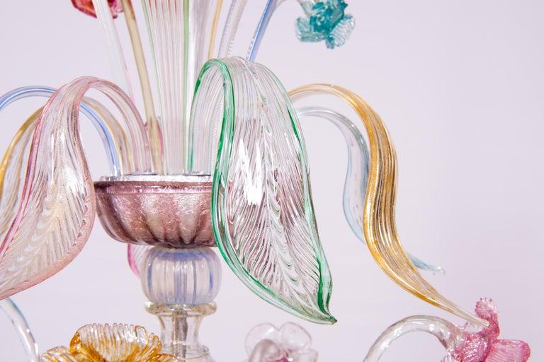 Italian Venetian Ca Rezzonico Chandelier, Blown Murano Glass, Multicolored, 1960 For Sale 8