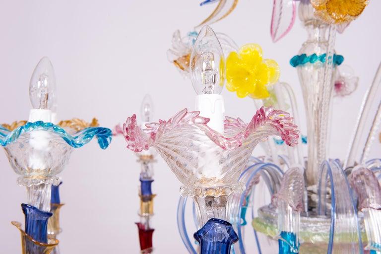 Italian Venetian Ca Rezzonico Chandelier, Blown Murano Glass, Multicolored, 1960 For Sale 9