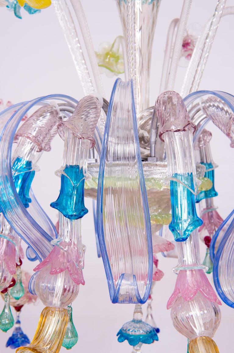 Mid-Century Modern Italian Venetian Ca Rezzonico Chandelier, Blown Murano Glass, Multicolored, 1960 For Sale