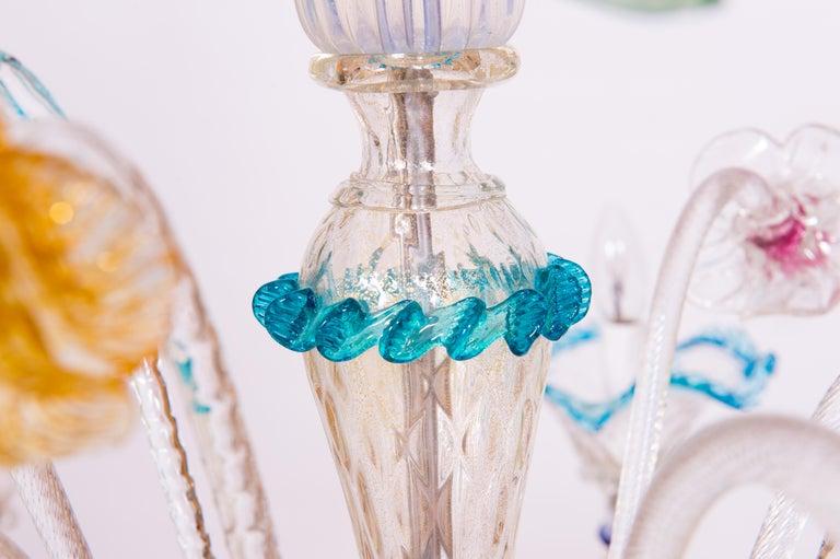 Hand-Crafted Italian Venetian Ca Rezzonico Chandelier, Blown Murano Glass, Multicolored, 1960 For Sale