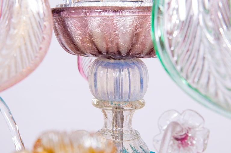 Italian Venetian Ca Rezzonico Chandelier, Blown Murano Glass, Multicolored, 1960 In Excellent Condition For Sale In Villaverla, IT
