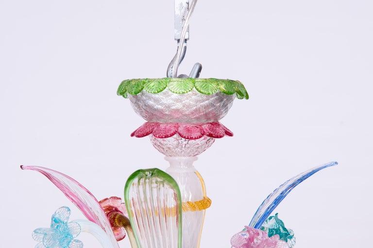 Mid-20th Century Italian Venetian Ca Rezzonico Chandelier, Blown Murano Glass, Multicolored, 1960 For Sale