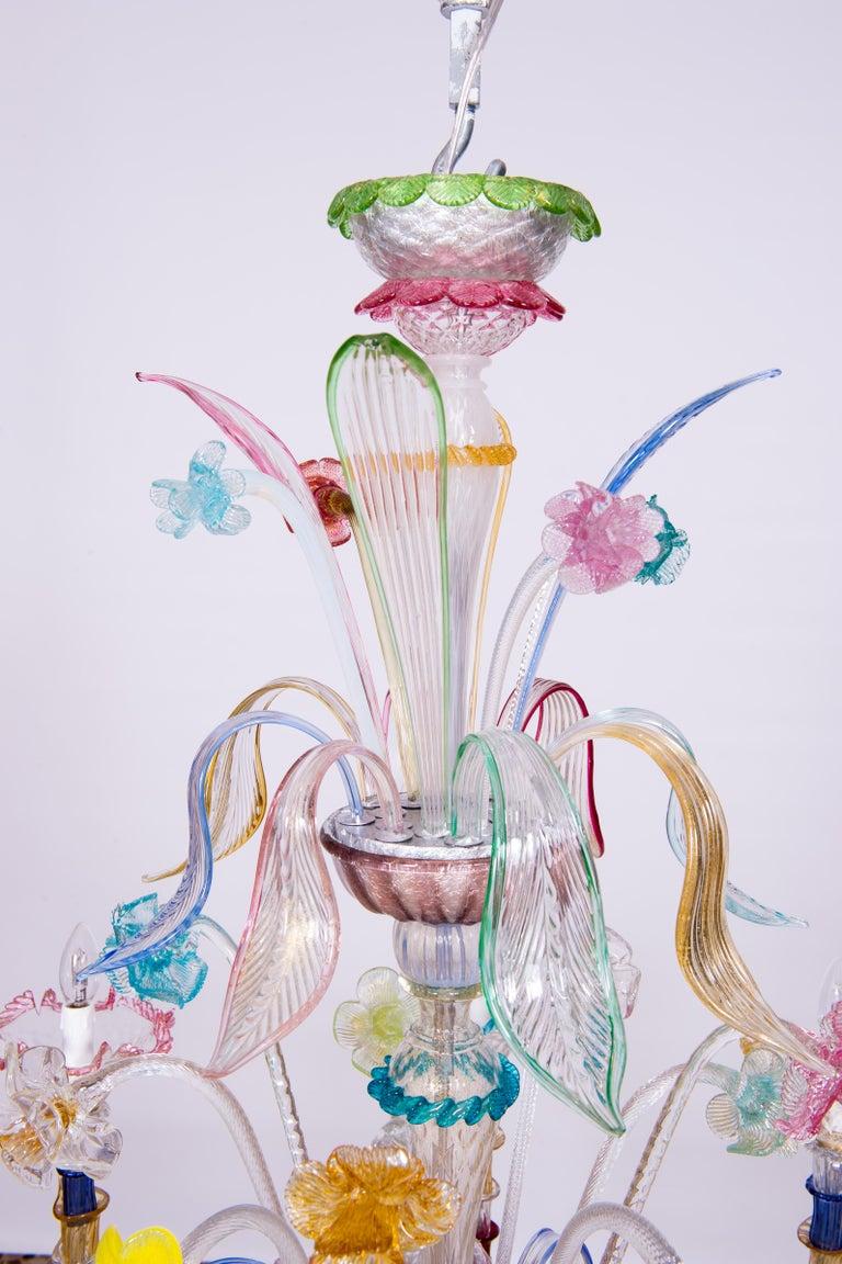 Art Glass Italian Venetian Ca Rezzonico Chandelier, Blown Murano Glass, Multicolored, 1960 For Sale
