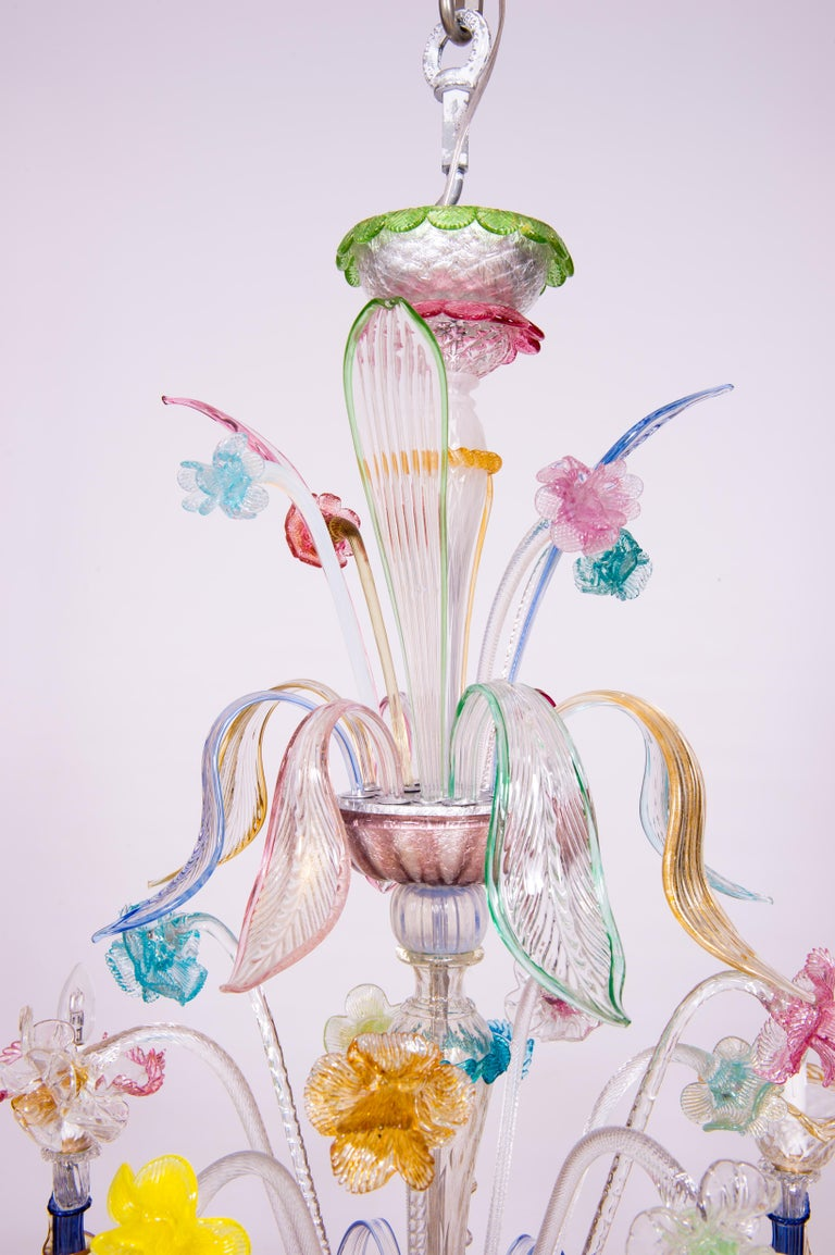 Italian Venetian Ca Rezzonico Chandelier, Blown Murano Glass, Multicolored, 1960 For Sale 2