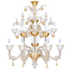 Italian Venetian, Ca' Rezzonico Chandelier, in Blown Murano Glass, Gold, 1950s