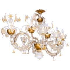 Italian Venetian Ca' Rezzonico Gondola Chandelier, Blown Murano glass, 24-K Gold