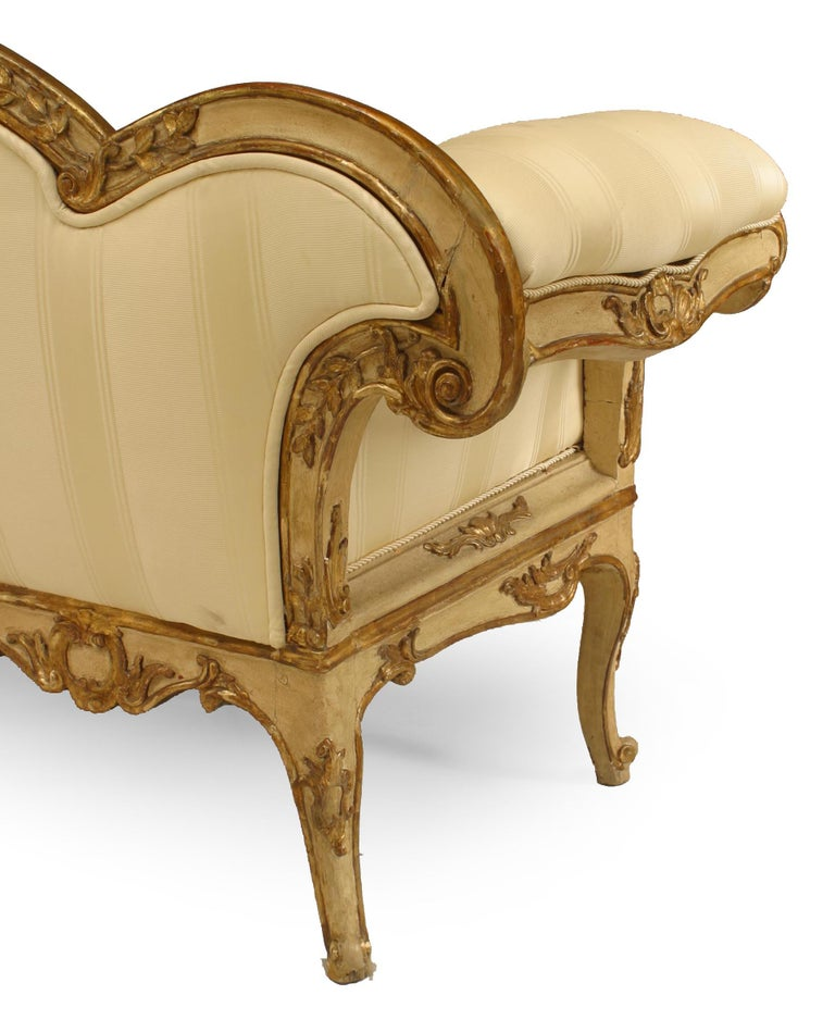 Painted Italian Venetian Carved Floral Settee For Sale