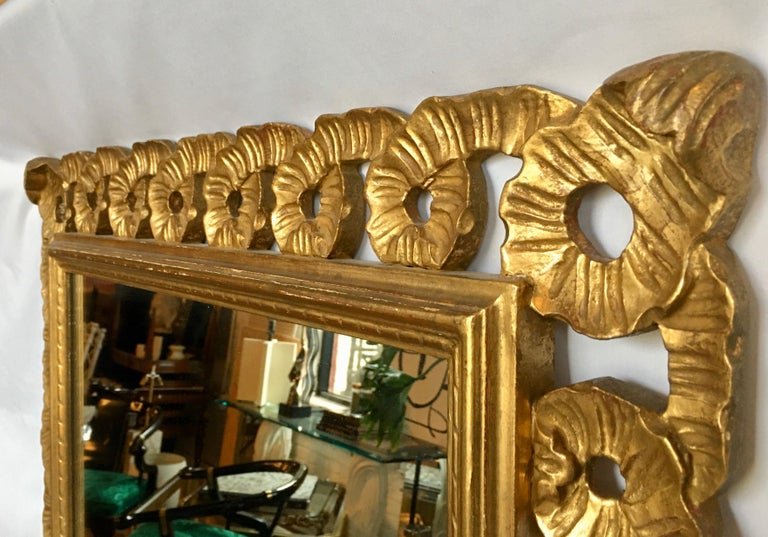 Baroque Italian Venetian Carved Gesso Giltwood Scalloped Ribbon Loop Wall Mirror For Sale