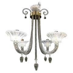 Italian Venetian Chandelier Art Deco Murano Blown Glass Pendant 1940s