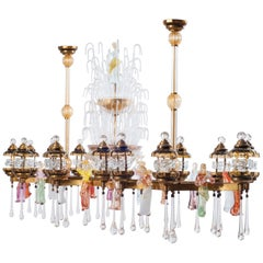 Italian Venetian, Chandelier, Blown Murano Glass, Brass Colorful Statues, 1950s