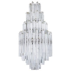 Italian Venetian, Chandelier, Blown Murano Glass Triedro Transparent, 1970s