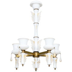 Italian Venetian, Chandelier, Blown Murano Glass, White and Brass, De Majo 1970s