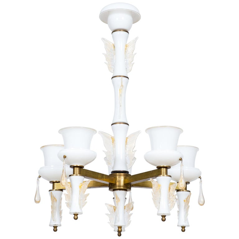 Italian Venetian, Chandelier, Blown Murano Glass, White and Brass, De Majo 1970s For Sale