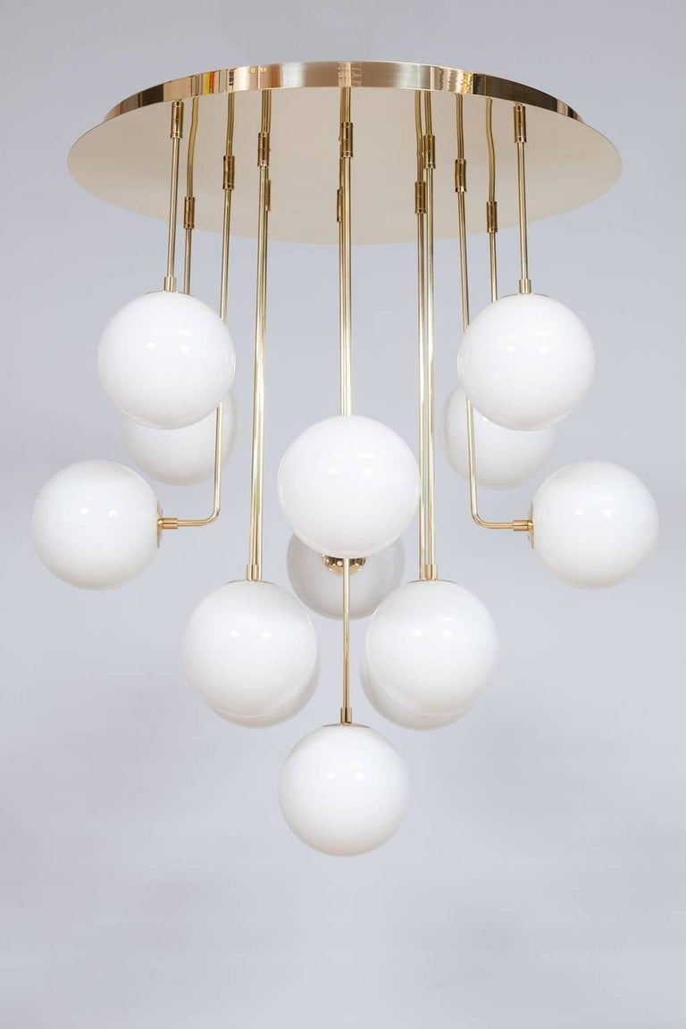 Luxury, modern, and gorgeous, Italian Venetian, chandelier, flush mount, blow Murano glass, brass, white, 21st century.