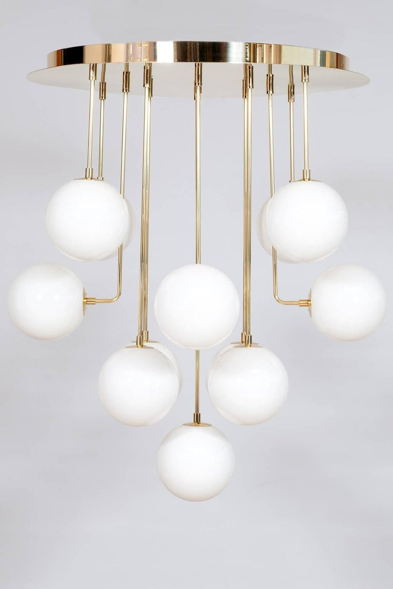 Modern Venetian, Chandelier, Flush Mount, Blow Murano Glass, Brass, White, 21st Century For Sale