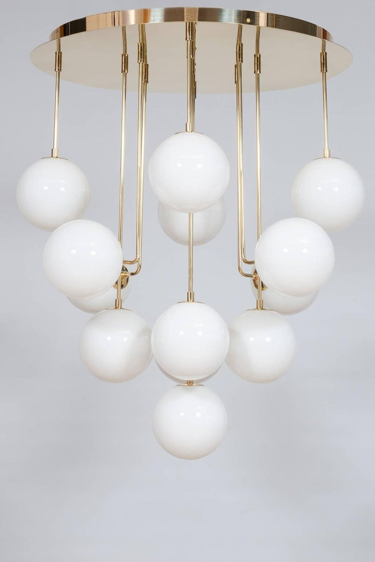 Italian Venetian, Chandelier, Flush Mount, Blow Murano Glass, Brass, White, 21st Century For Sale