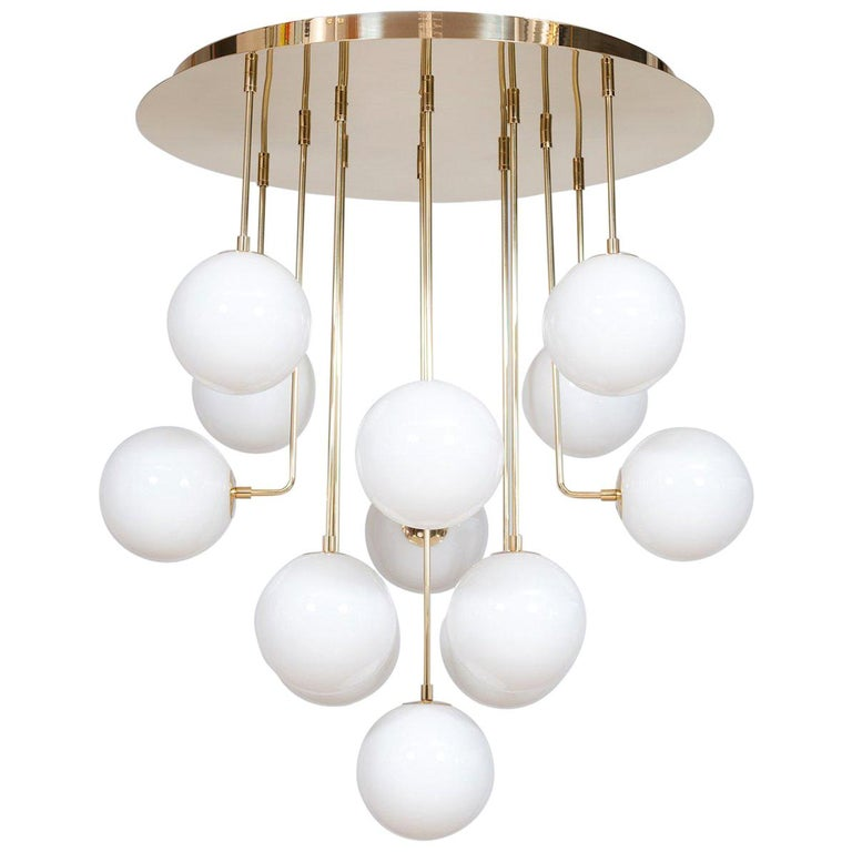 Venetian, Chandelier, Flush Mount, Blow Murano Glass, Brass, White, 21st Century For Sale