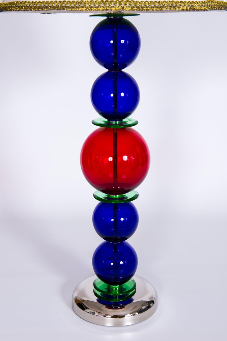 Giant Colorful Pair of  Table Lamps in Blown Murano Glass, Italy Contemporary For Sale 1
