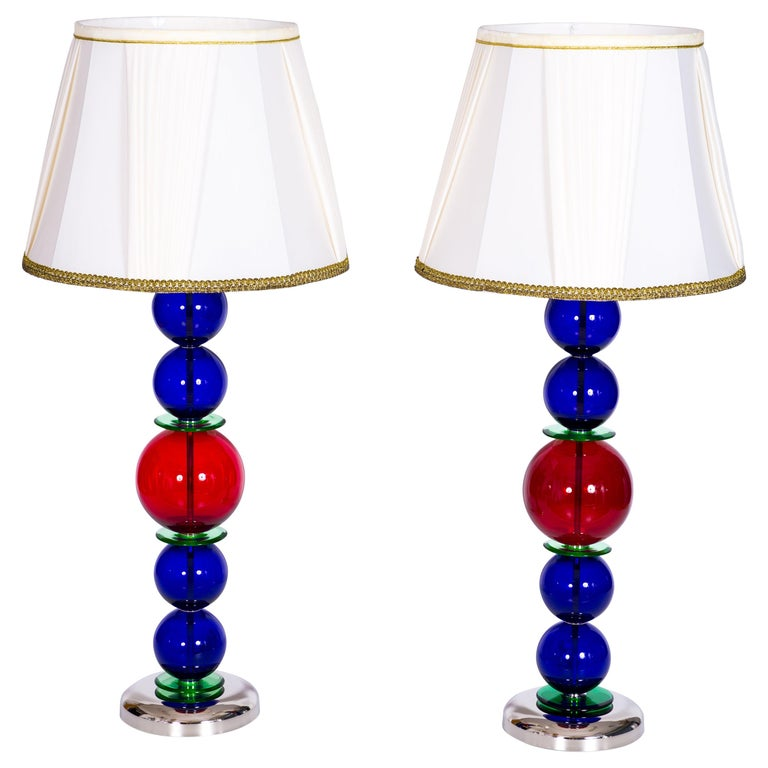 Giant Colorful Pair of  Table Lamps in Blown Murano Glass, Italy Contemporary For Sale
