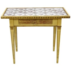 Italian Venetian Cream & Gold Giltwood Double Drawer Tile Top Console Hall Table