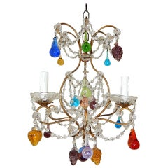 Italian Venetian Crystal Swags Murano Fruit and Drops Chandelier