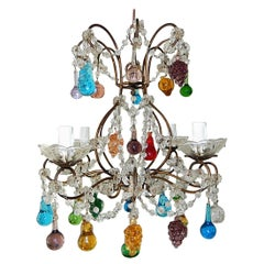 Italian Venetian Crystal Swags Murano Fruit & Drops Chandelier