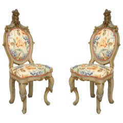 Italian Venetian Drape Side Chairs