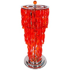 Italian Venetian, Floor Lamp, Blown Murano Glass, Twisted Red Transparent, 1990s